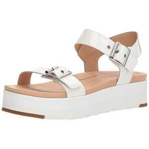 UGG Angie White Patent Leather sport sandal, 8.5